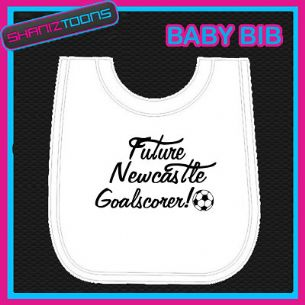 NEWCASTLE FOOTBALL WHITE BABY BIB EMBROIDERED - 160545392948
